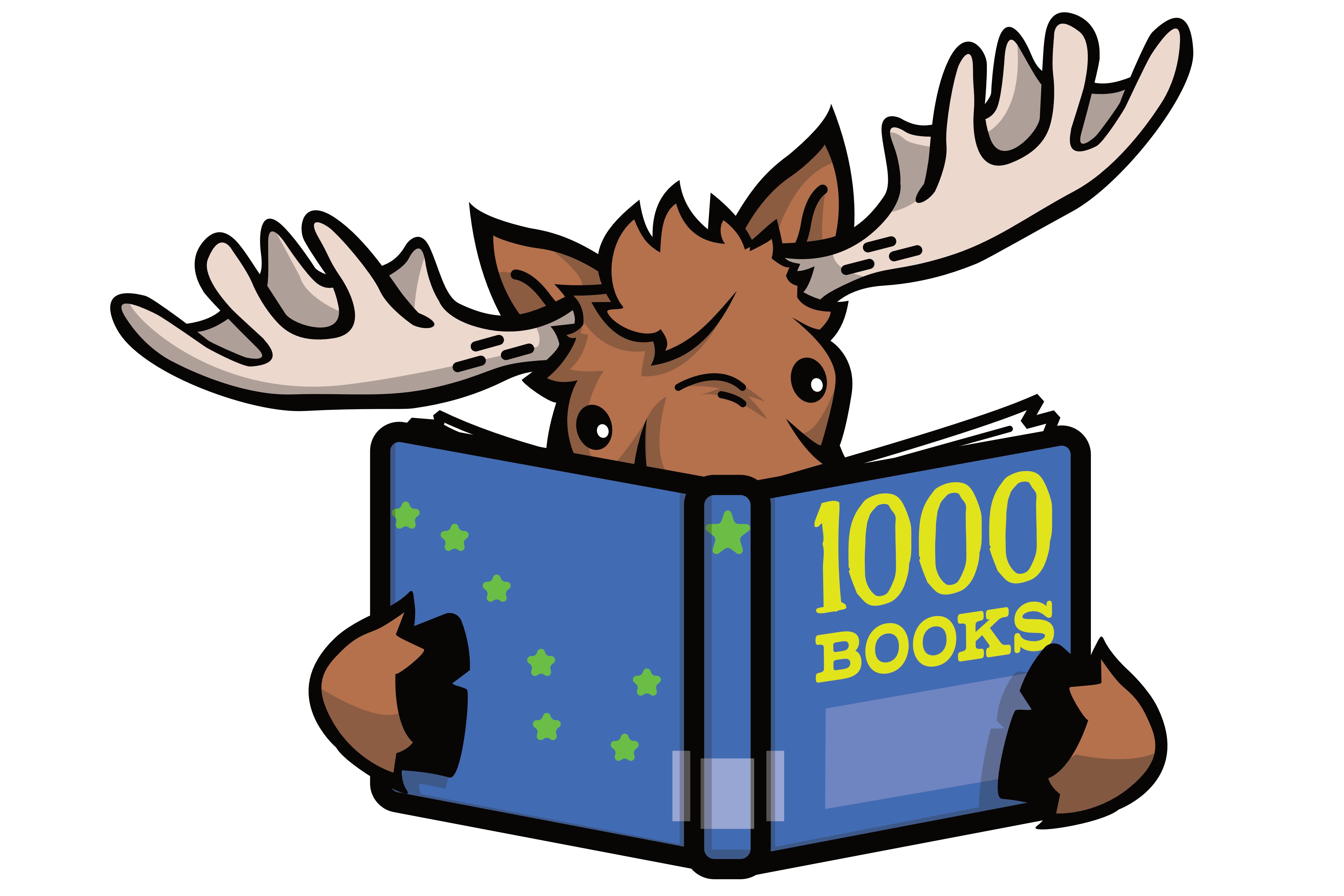 Moose Reading a Book titled 1,000 Books