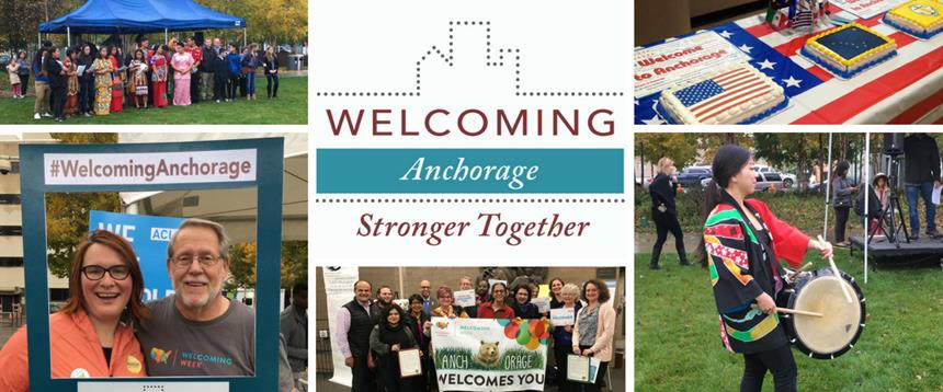 Photo collage of Welcoming Anchorage events with Welcoming Anchorage logo