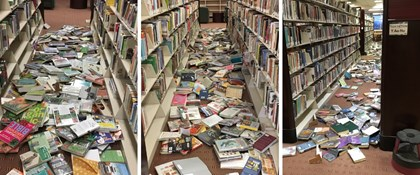 Photo of books on floor after earthquake