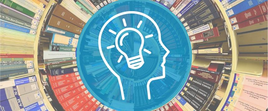 Photo of books with head and light bulb icon in the center