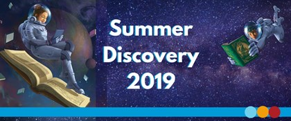 Illustration of astronauts reading with text: Summer Discovery 2019