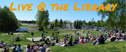 Photo of concert on lawn with text: Live @ the Library