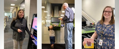 3 photos of APL staff and patrons using automation technology at Loussac Library