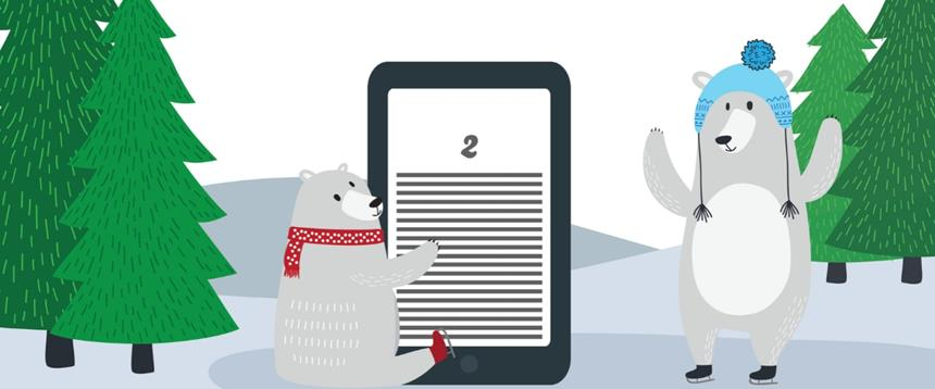 Bears in winter scene holding an e-reader