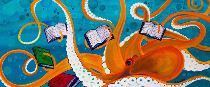 Painting of octopus holding books in each arm.