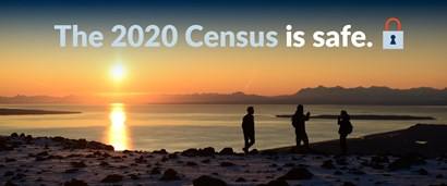 "Photo of three people on a beach at sunset with the text ""The 2020 Census is safe."""