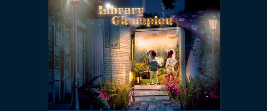 Library Champion Card featuring children walking through book shaped doorway into a landscape with lamp posts and flowers
